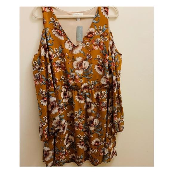 Forever 21 Dresses & Skirts - Forever 21 NWT Shoulder LS Dress Ginger Floral 2X